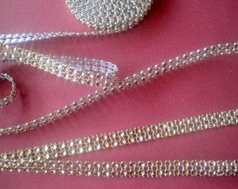 Diamond Stream Jewel Ribbon, Gold, 3/4 inch wide, 1 yard, For jewelry, Home Decor, Mixed Media, Apparel, Victorian & Romantic Crafts