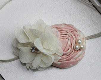 Vintage Pink and Ivory Flower Headband, Baby headband, ivory headband, Newborn Headband, Baby Girl Flower Headband, Photography Prop