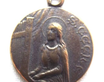 Bronze St. Saint Cecilia Medal Virgin Martyr VP632