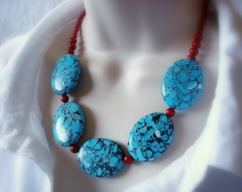 Thai Turqoise and Coral Statement Necklace