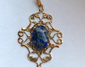 Sodalite in Antiqued Gold Filigree