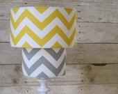 Lamp Shade Chevron Zig Zag Drum Lampshade 2 Tier in Mustard Yellow and Gray Grey