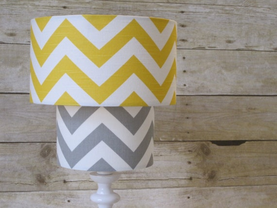 Lamp Shade Chevron Zig Zag Drum Lampshade 2 Tier in Mustard Yellow and Gray Grey