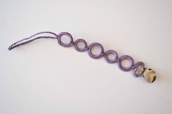 Pacifier Clip- PURPLE - Universal style: fits mam, soothie, nuk....    (Made by lippybrand)