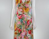 Vintage 60s Floral V Neck Maxi Dress Large