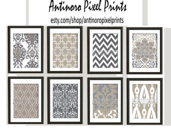 Khaki Grey Ikat inspired Art Prints Collection -Set of (8) - 8x10 Prints  - Featured in Khaki Grey (UNFRAMED)
