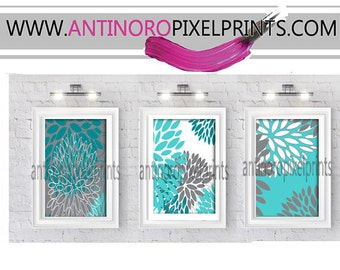 Floral Turquoise Teal Grey Vintage / Modern inspired Prints  -Set of (3) - 8 x 10 Prints -  (UNFRAMED)