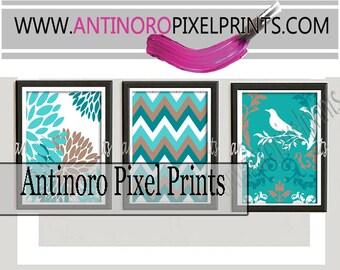 Aqua Teal Cappuccino Damask Digital Wall Art Print  -Set of (3) 8 x 10 -  Prints -  (UNFRAMED) Custom Colors Sizes Available