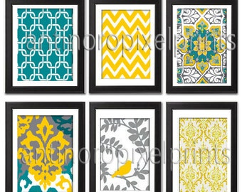Yellow Dark Turquoise Blue Grey Vintage / Modern inspired  Art Prints Collection (Series C) -Set of 6 - 8x10 Prints -   (UNFRAMED)
