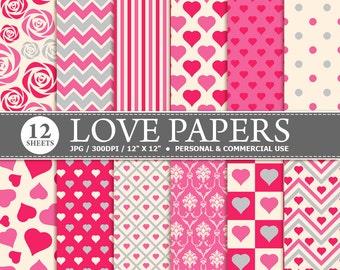 70% OFF SALE 12 Love Digital Scrapbook Paper, digital paper patterns for card making, invitations, scrapbooking