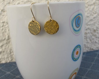 Hammered gold disc  Earrings, Small gold disc earrings- circle hammered earrings