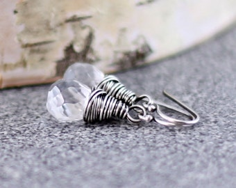 Crystal Quartz Earrings, Oxidized Sterling Silver April Birthstone Clear Rock Crystal Dangle Earrings Wire Wrapped