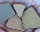 Scottish Sea / Beach Pottery  Collection of 4 large Rust and Cream  Color Fragments