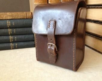Brown Leather Camera Bag Handsewn, Chestnut Brown Lens Case, Binocular Case