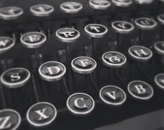 Square Black And White Close-up Of Vintage Retro Old Smith-Corona Typewriter Keys Print