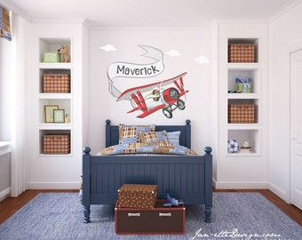 Airplane Wall Decal,Kids Personalized Airplane Fabric Wall Decal