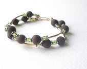 Natural Gemstone Peridot - Natural Brown Lava Double Strand 14kt Yellow Gold Filled Bracelet