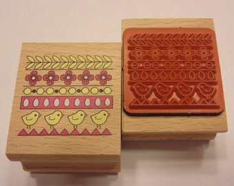 chicks and flowers, rubber stamp, 40 mm (SB1)
