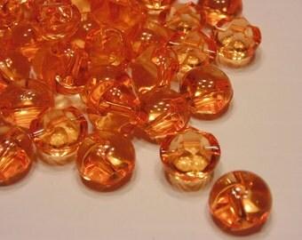 10 orange strait hole translucent bead buttons, 12 mm (42)