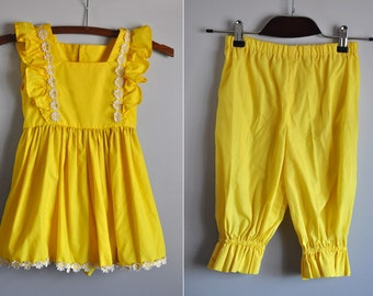 70s Dress & Pants SET Yellow Floral Summer Boho Summer Beach Party Hippie Festival Colorful Estimated 3 4 5 6 Years Old