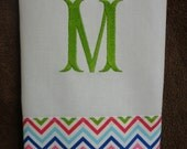 Multi Chevron Hand Towel with Large Initial