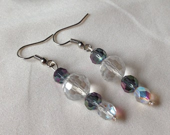 Dangle Pierced Earrings Silver Clear Glass Crystals with Smokey Blue Purple Glass Crystals