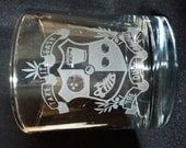 Dudeism Coat of Arms Fine Engraving on a Whiskey Tumbler, The Crest for the Church of Latter-Day Dude Set of 2