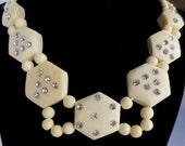 Bone Rhinestone Necklace Beautiful Vintage