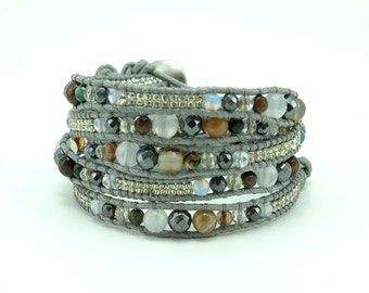 Quartz,agate and hematite wrap bracelet