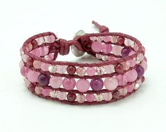 Pink color wrap bracelet.