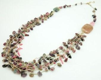 Tomarine,jasper,shell,freshwater pearl,rose quartz,on knitting silk long necklace