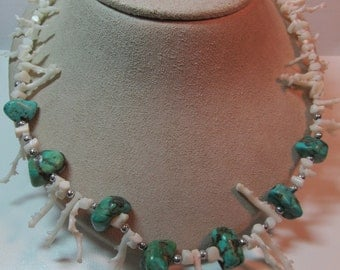 Handmade White Coral & Turquoise Necklace