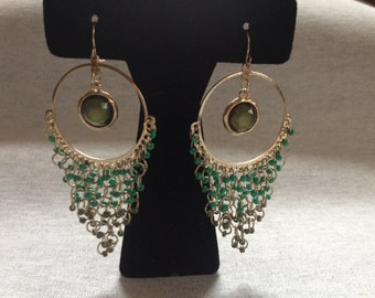 Vintage Costume Goldtone Teal Bead and Center Gem Dangle Earrings