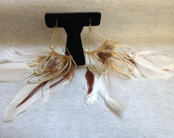 Vintage Costume Goldtone Dangle Earrings with Feather Accents