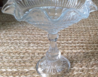 Tall Clear Glass Compote Dish Made In Poland