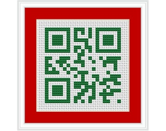 Merry Christmas QR Code PDF Cross Stitch Chart