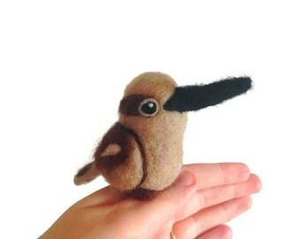 Miniature Kookaburra Sculpture, Needle Felted Kookaburra Totem