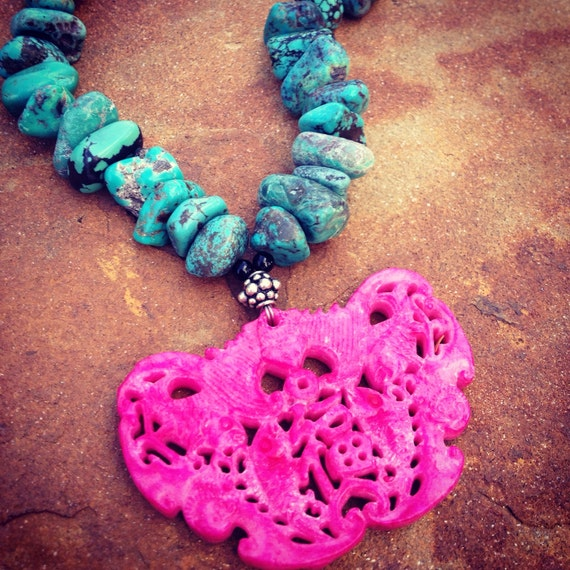 Genuine Turquoise Nuggets with Large Hot Pink Carved Jade Statement Necklace
