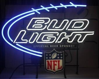 Vintage NEON Bud Light NFL Sign, Large, Barware, Mancave, Antique Alchemy
