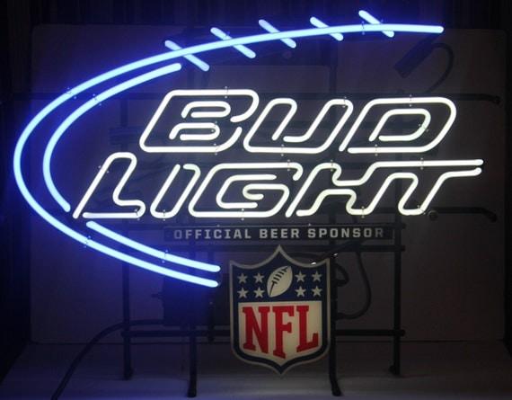 Vintage Neon Bud Light Nfl Sign Large Barware Mancave