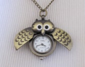 Vintage Bronze Owl Watch Pendant with moving wings