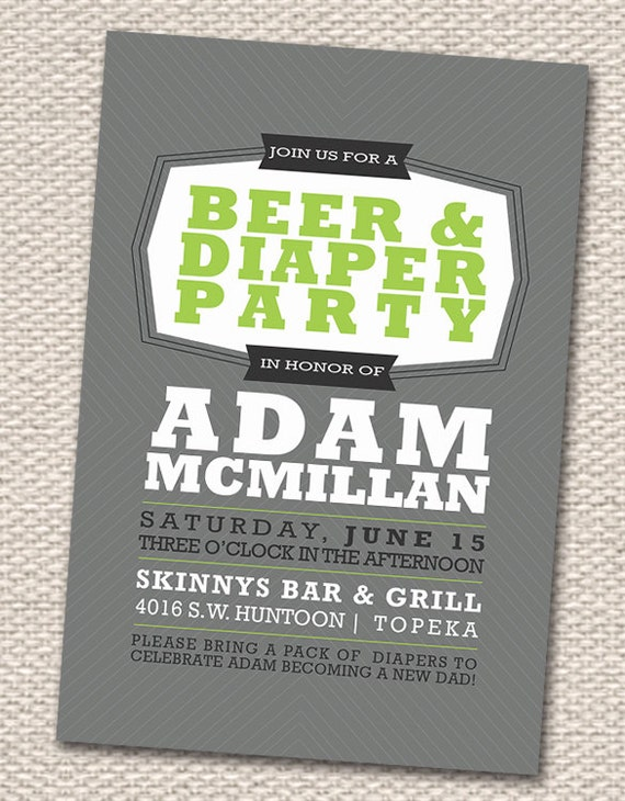 retro beer  diaper party invitation  lime green grey, party invitations