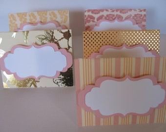 Set of 12 Food Labels, Peach, Pink and Gold Buffet Food Labels, Bridal Shower decorations,