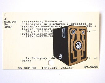 Brownie Camera Library Card Art - Print of my painting of vintage Brownie camera on library card catalog card