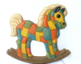 70s Patchwork Rocking Horse Wall Hanging - Retro Country Kid's Room Decor - Red Blue Green Yellow