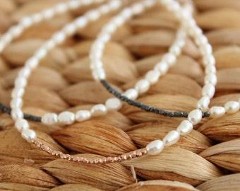 Rose Gold Pearl Bracelet. Wedding Bracelet. Bridesmaids gift bracelet. Dainty Bracelet. Black Silver Bracelet. Sterling Silver Pearl