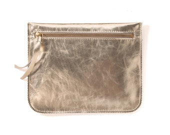 Gold leather purse, leather zipper pouch, small leather wallet
