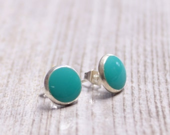 Turquoise tiny stud earrings tiny earring studs 8mm 5/16 inch