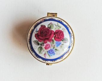 Vintage Porcelain Jewelry Box, Pillbox, Trinket Box