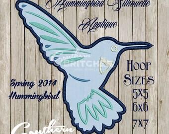 Hummingbird Silhouette Applique- Machine Embroidery- Instant Download, Blue-Hummingbird applique design, Digitized Bird clip arts